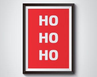 Hohoho - Merry Christmas Printable - Santa Claus - Christmas Printable Art - Christmas Art Print - Santa Decoration - Christmas Decoration