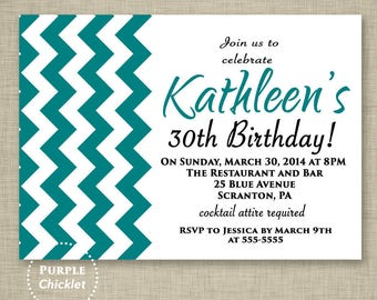 Teal Birthday Invitation Teal Chevron 30th Birthday Invite Zig Zags 16th 18th 20th Printable Adult Party Party Invite - JPEG file (91a)