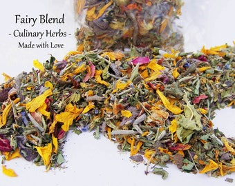 RAW Sun Dried Fairy Blend - Culinary Herb Flower Mix -  Organically Grown, Hand Harvested - Edible Blossoms - Food Market - Herbs & Spices