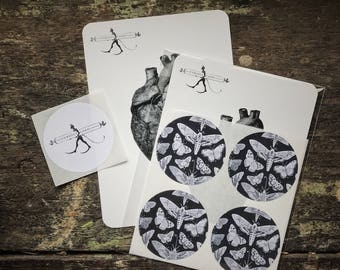 Natural History, Moth and Butterfly Science Stickers. Gothic Wiccan Envelope & Scrapbook embellishment. Luxury round sticker four (4) Pack.