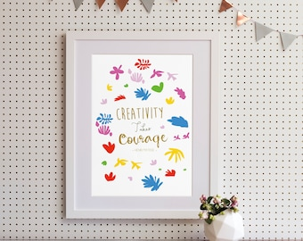 "Henri Matisse ""Creativity takes courage"" Quote Art Print"
