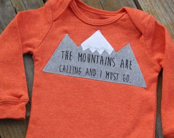 The Mountains are Calling and I Must Go, Mountain Bodysuit, Baby Mountain Shirt, Snowboard Colorado Baby, Ski Baby, Adventure Baby