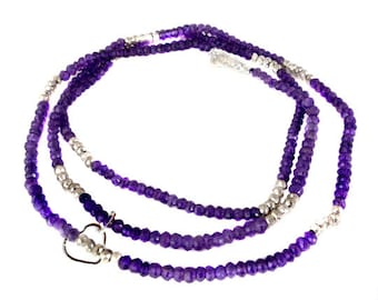 "Gemstone Beaded Chain with Heart Charm -- Finished 24"" Amethyst and Silver Pyrite 4-5mm Bead Chain with Silver Lobster Clasp"