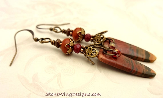 Rustic Boho Red Creek Jasper Earrings in Dark Brick Red, Green and Orange