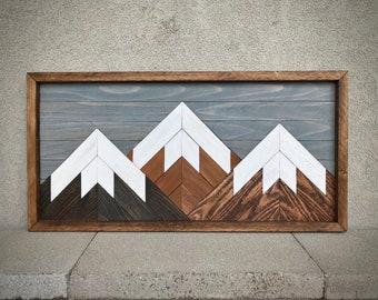 "Mountain Reclaimed Wood Wall Art - 13""x26"" - multiple sky colors"