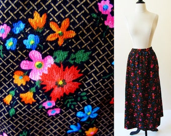 60s Long Skirt in a Cotton Flower Print Size Small, Free shipping