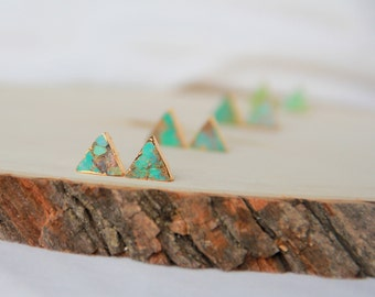 Turquoise triangle stud earrings, Turquoise earrings, Stone studs, Modern jewelry, Small Earrings, Dainty Jewelry, Bridal Bridesmaid