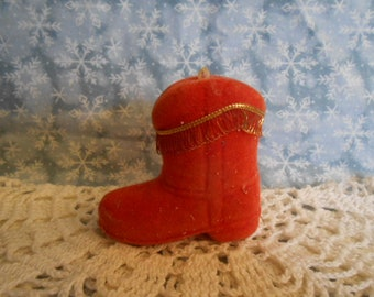 Vintage Flocked Boot Christmas Ornament