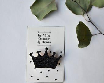 broche couronne noire paillettes
