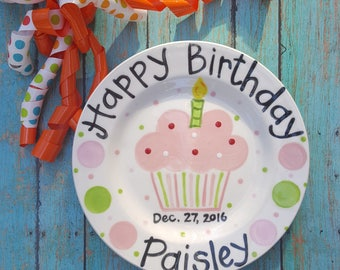 More colors. 10.5 inch Personalized Ceramic Birthday Plate ... & Birthday plate | Etsy