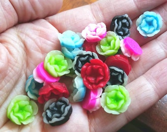 13mm Two-Tone Flower Cabochons Small Resin Flatback Floral Decoden Glue-on Pieces Ombre Dual Color