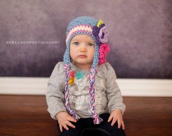 girls winter hat, girls hat, newborn girl hat, girls hat, little girls hat, crochet girl hat, baby girl hat, kids hat, crochet kids hat