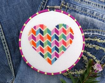 Heart Cross Stitch Pattern – Valentines Cross Stitch Patterns – Geometric Heart – Modern – Love DIY Gift – Counted XStitch Chart PDF