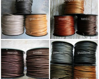 1.5mm Metallic Round Leather Cord, 1.5, Metallic Leather Cord, 1.5mm Leather, Round Leather Cord, Metallic Leather Cord, Metallic Leather