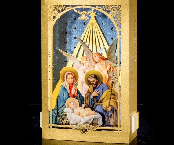 Pop Up Christmas Card, Pop Up Card Christmas Card Nativity Scene Christmas  Jesus Birth Baby Jesus Pop Up Crib Christmas Gift Tunnel Card