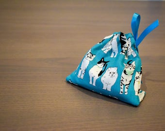 Cat Pattern Dice Bag plus optional dice for Tabletop Gaming, Role Playing, Dungeons and Dragons, Boardgames