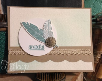 Handmade Stamped Feathers Thank You Card