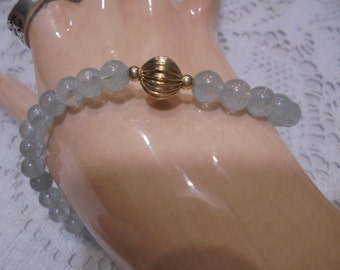 14 kt  Gold / Blue Aquamarine / Gold  Beaded Bracelet