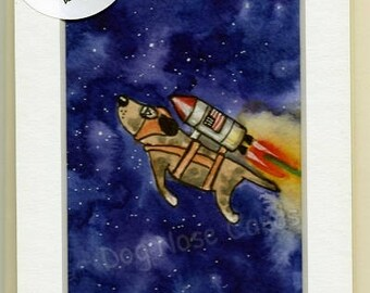 Birthday Cards: Hand-Painted Greetings Cards 'Rocket Dog' (originals - not prints!)