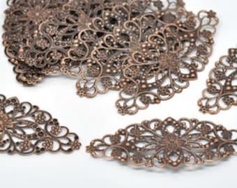 "Zinc metal alloy Embellishments Oval Antique Copper 3 1/8"" x 1 3/8"" - Pack Of 8"