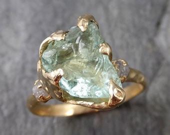 Raw Uncut Aquamarine Diamond yellow Gold Engagement Ring Multi stone Wedding 14k Ring Custom One Of a Kind Gemstone Bespoke Ring 1165