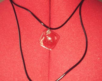 Red Rose Resin Pendant necklace