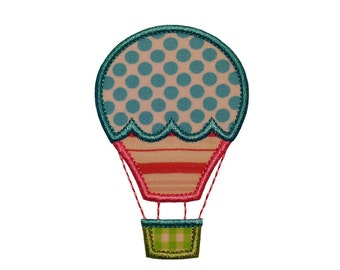 "Antique Hot Air Balloon Machine Embroidery Design Applique Pattern in 4 sizes 4"", 5"", 6"" and 7"""