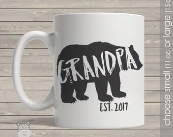 Coffee mug grandpa bear grandpa established any year personalized mug CMGPB