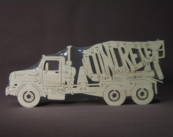 Concrete Cement Truck  Puzzle  Wooden Toy Hand Cut with Scroll Saw