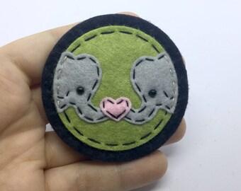 Love Elephants Hand Sewn Wool Felt Pin