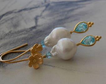 Bridal Pearl Earrings, Baroque Cream Pearl Drop Earrings with Blue CZ Accent, Vermeil Flowers, Summer Wedding, June Birthstone, Neoclassical