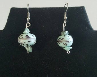 Turquoise and Glass Minimalist Floral Earrings