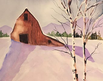 Red Barn (Original Watercolor Painting)