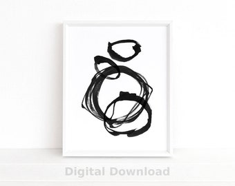 Scandinavian Print, Abstract Art, Minimalist Poster, Ink Line Drawing, Instant Download Printable Art, Black & White Wall Art Prints
