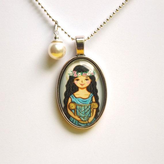 Saint cecilia pendant necklace st cecilia saint pendant saint like this item mozeypictures Choice Image