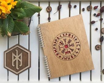 Vegvisir Wooden notebook with Futhark circle | Galdrastafir laser engraving Notepad made of wood