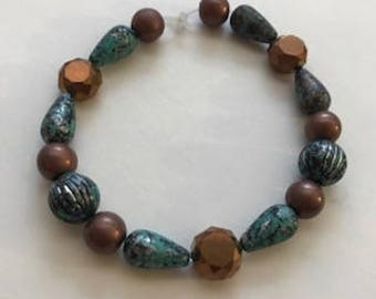 Turquoise and Bronze Stretch Bracelet, Gift for Her