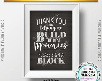 """Sign a Block Sign, Thank You for Helping Me Build Memories, Graduation Party, Retirement, Bon Voyage, Chalkboard Style PRINTABLE 5x7"""" <ID>"""