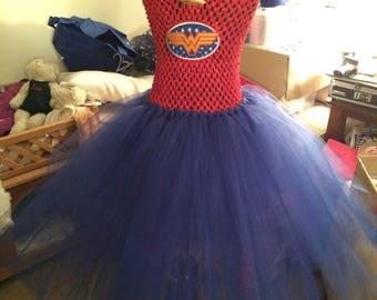 Tutu costume, Superhero, Wonder Woman , tutu princess, toddle tutu dress, tutu tulle ( Made To Order)
