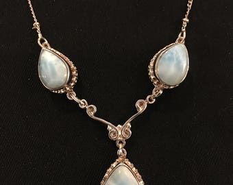 Larimar and Sterling Silver Necklace