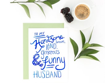 To My Husband Card - Valentine Card, Anniversary Card, Just Because Card, Valentine's gift