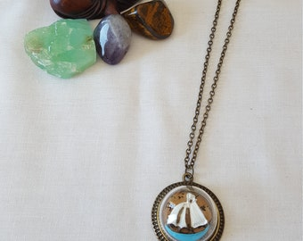 Bronze Sailboat Glass Bulb Charm On Bronze Chain Necklace