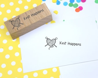 Knit Happens Handmade rubber stamp - Craft - knitting