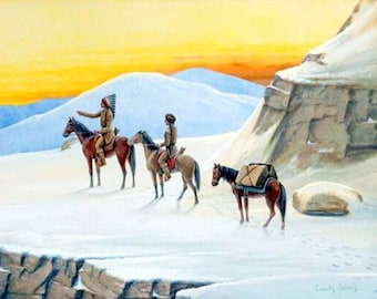 winter-trail. Cassilly Adams (1843 – 1921)  Native Americans western Old West, native american art, antique western, 11x14 canvas art print