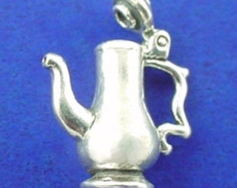 COFFEE POT Charm .925 Sterling Silver Coffee Urn Movable Pendant - lp3881