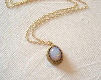 Opal Necklace Fire Opal Harlequin Necklace October Birthstone Tiny Brass Locket Personalized Neckace Fire Opal Gold Chain Opal Jewelry