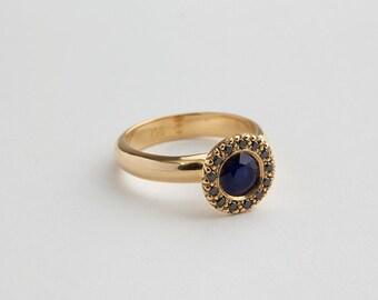 Sapphire & Black Diamonds Ring,Diamond Halo Ring, Sapphire Engagement Promise Ring, Saphire Ring, Black Diamond Estate Ring 18k