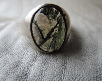 moss agate ring mens ring sterling silver dendritic agate