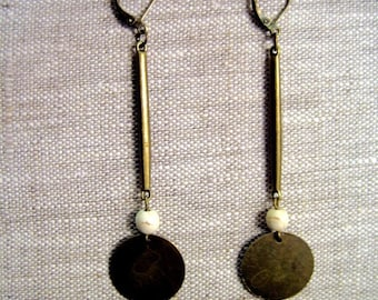 Long ethnic earrings bronze and white