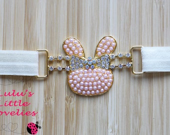 Easter Headband, Bunny Connector, Pearl Bunny, Easter Connector, Girl Spring Headband, Newborn , Gold Bunny Headband, Easter Bunny Picture